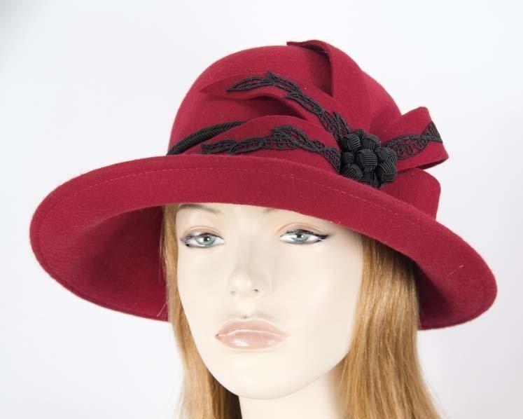 Large red felt designers winter hat