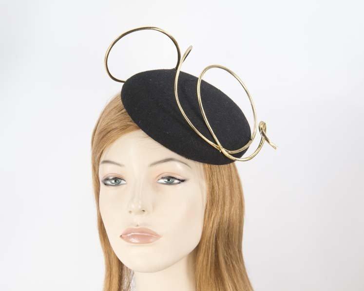 6d46cdb0a Black felt fascinator hat with gold wire work
