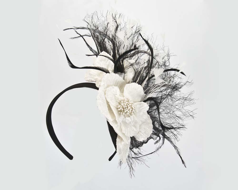 Black cream designers flower fascinator