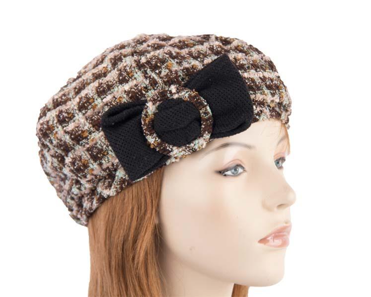 Tan aqua woman fashion beret hat Max Alexander J187TA
