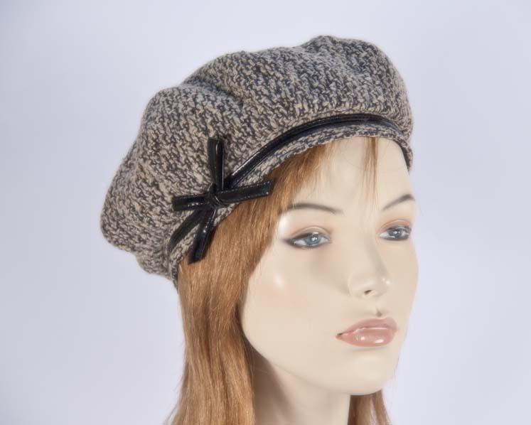 Beige winter ladies fashion beret hat Max Alexander J250B