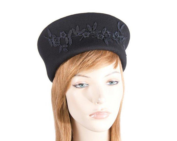 Large black felt beret hat with lace