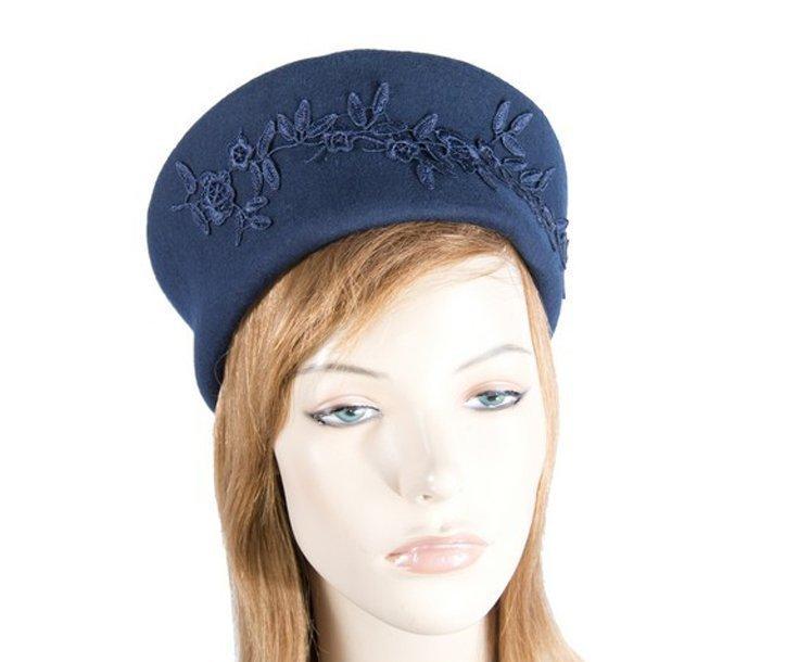 Large navy felt beret hat with lace