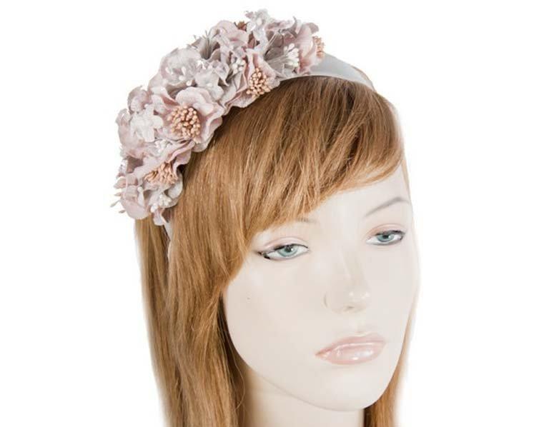 Silver & pink  flower headband racing fascinator