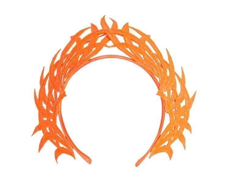 Fluro orange lace crown fascinator