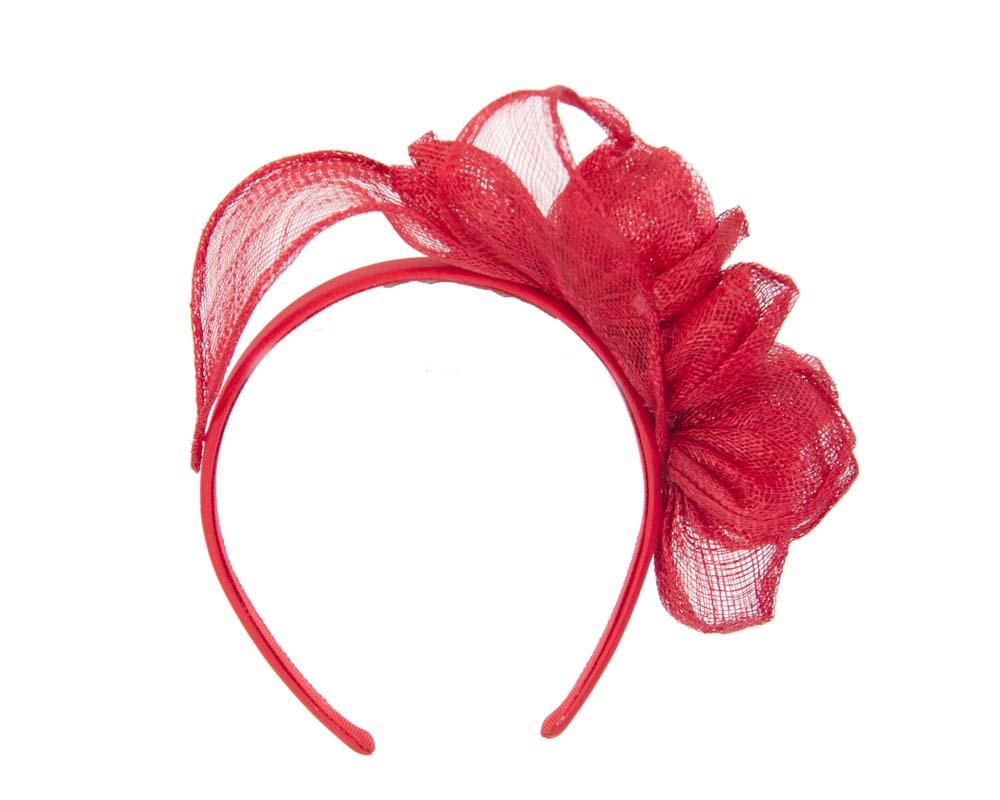 Red sinamay flower crown