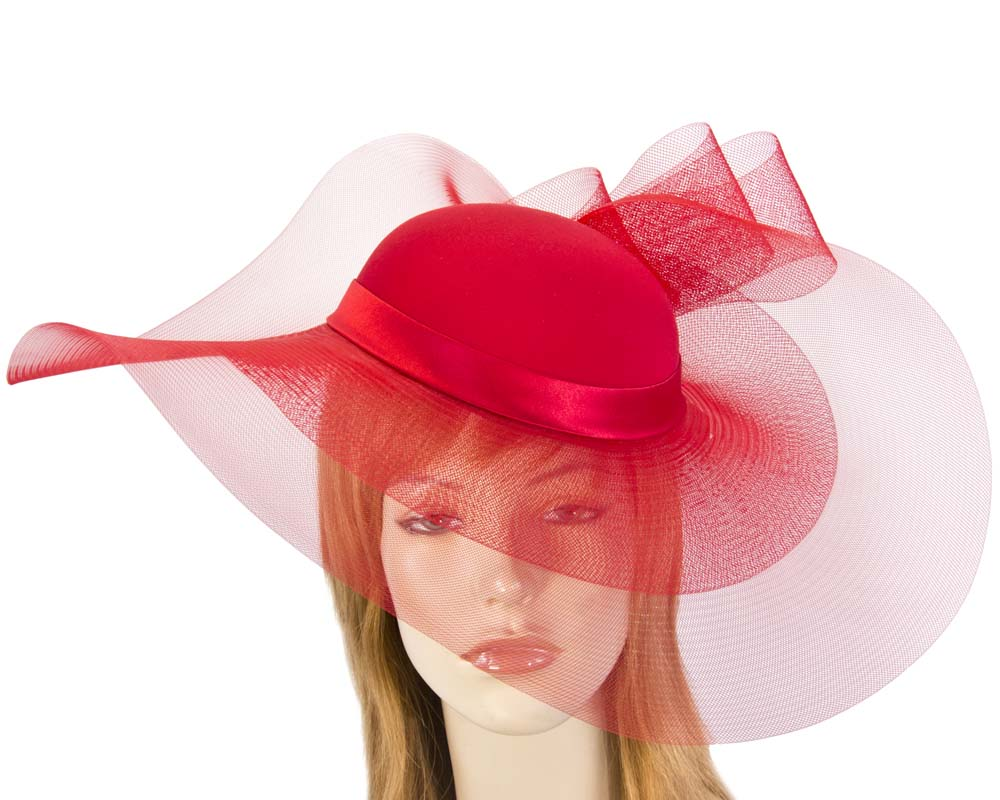 0215ac46f2723 Red large brim custom made ladies hat for special occasion S152R
