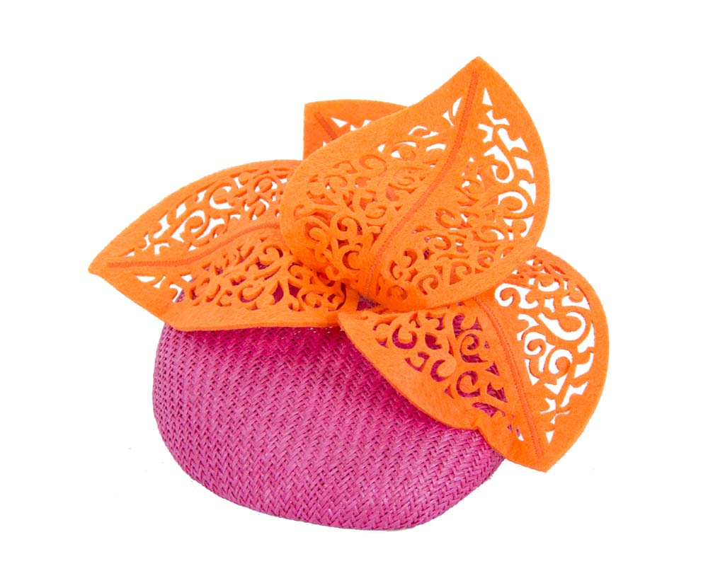 Fuchsia & orange laser cut fascinator