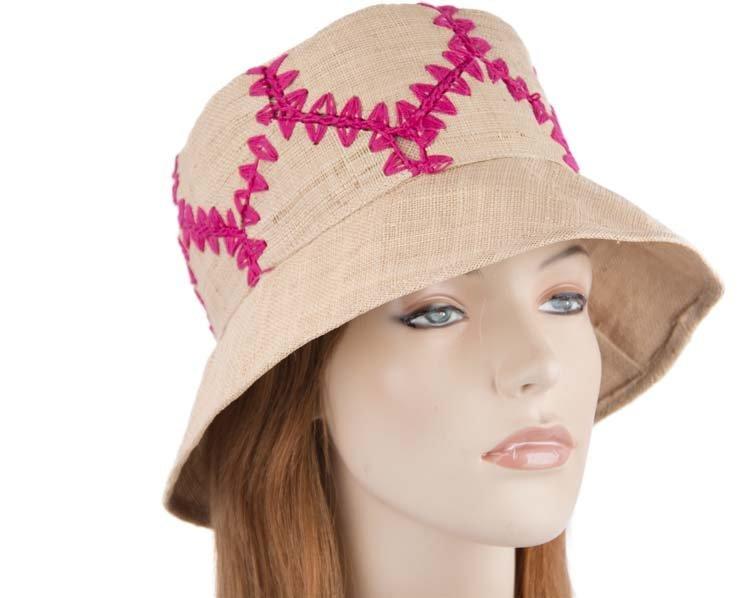Summer sun hat with fuchsia stitches SP371F