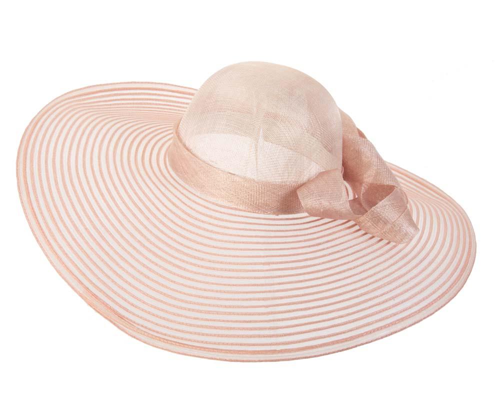 Peach wide brim fashion hat