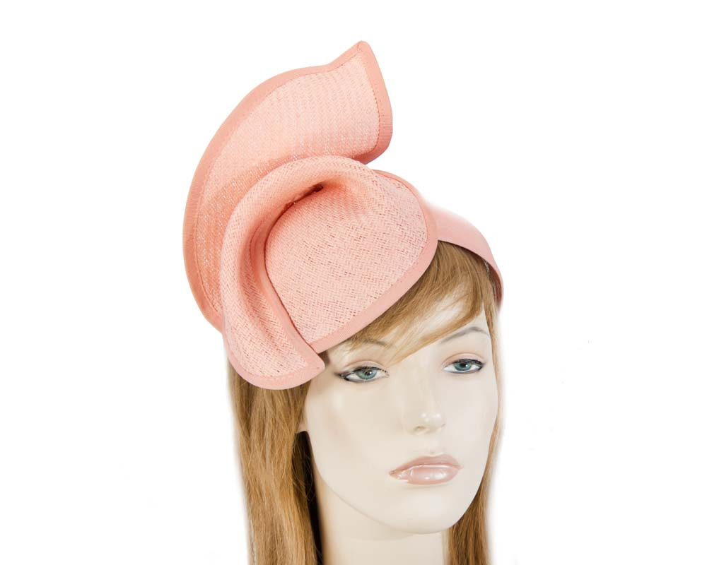 Coral fashion pillbox fascinator hat for races Max Alexander