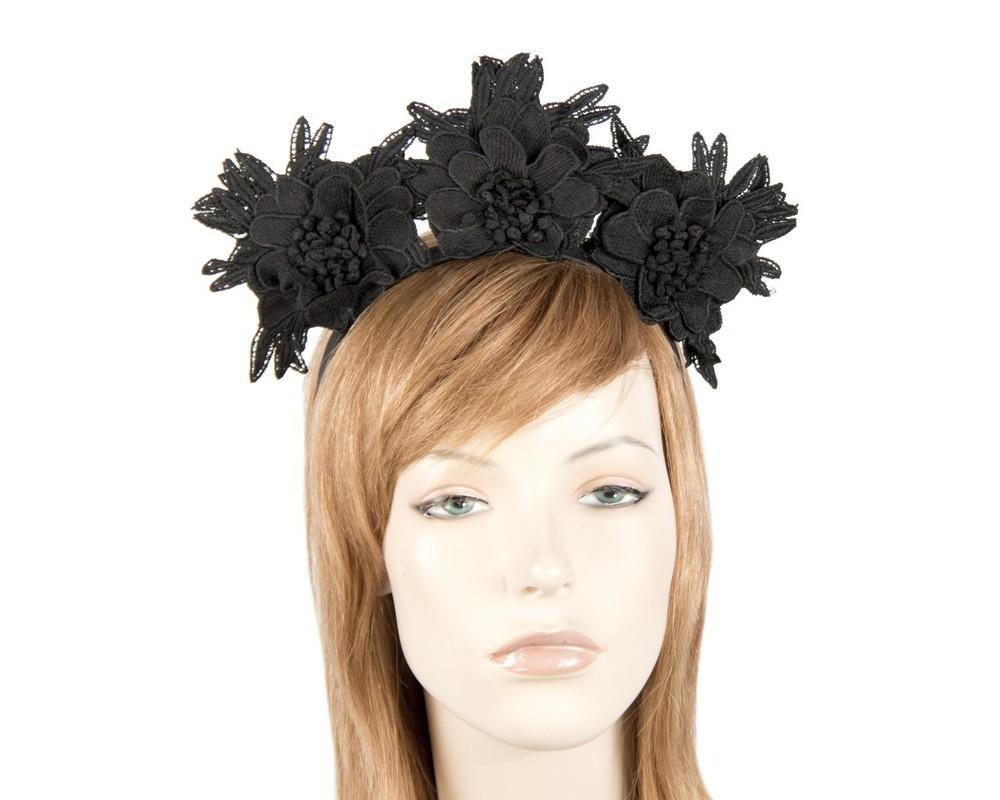 Black crown lace flowers fascinator