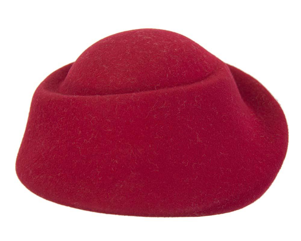 Unique red ladies winter felt fashion hat