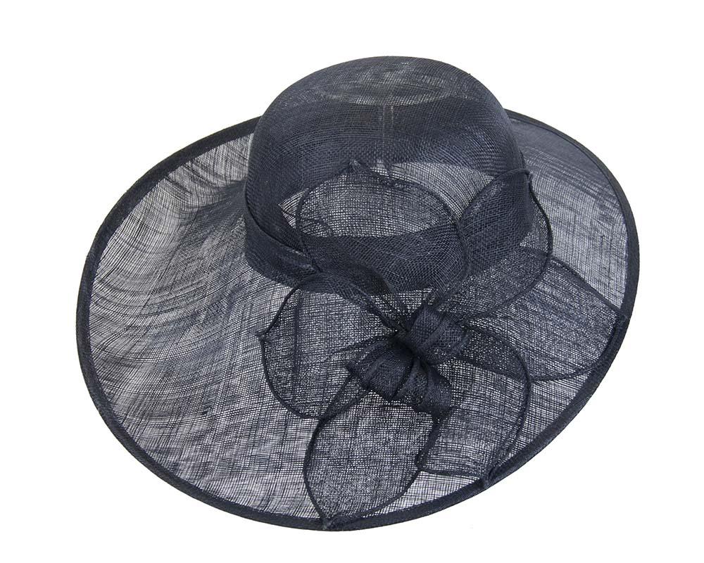 Navy wide brim racing fashion hat by Max Alexander