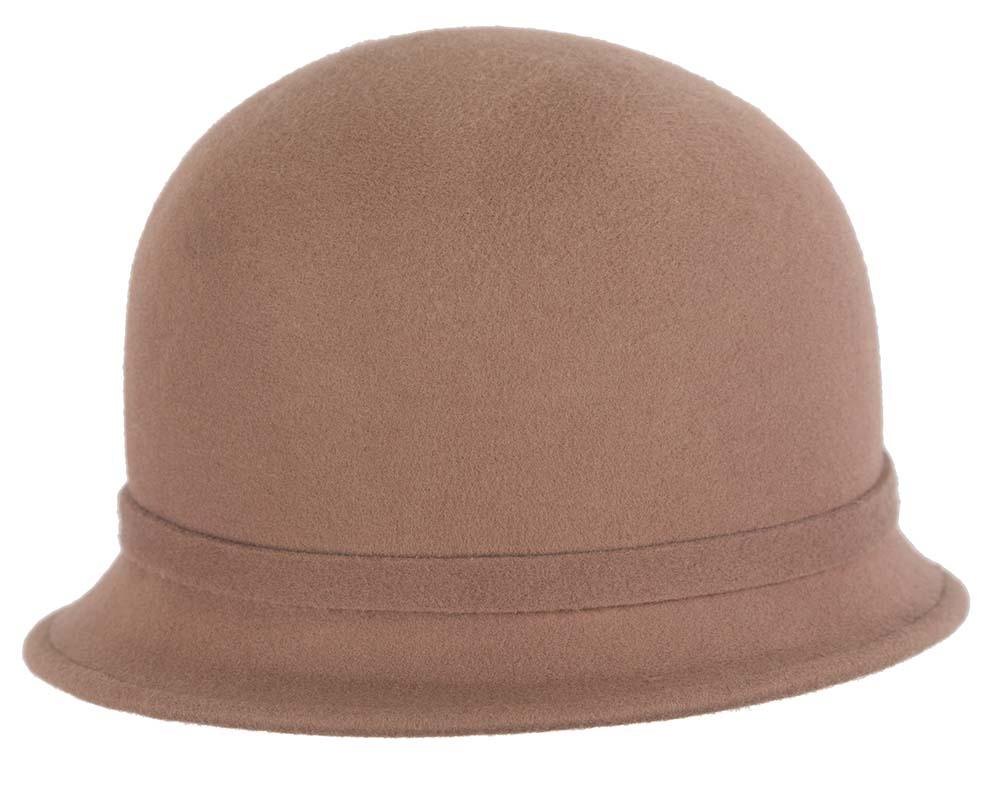 Beige felt winter cloche hat by Cupids Millinery Melbourne