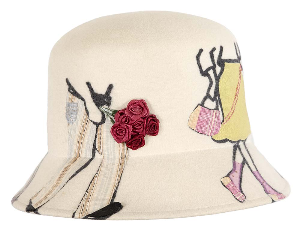 Unique designers winter fashion bucket hat by Cupids Millinery